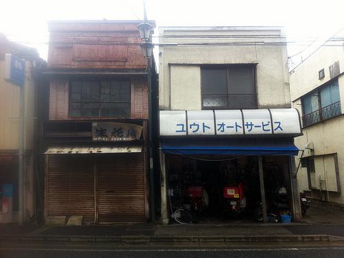 水戸街道沿いの古い商店街。
