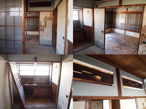 101号室 左上:玄関から見た室内 右上:和室が2部屋あります。 左下:キッチン 右下:欄間