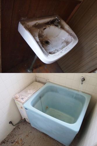 101号室水回り 上:室内手洗い場 下:浴室