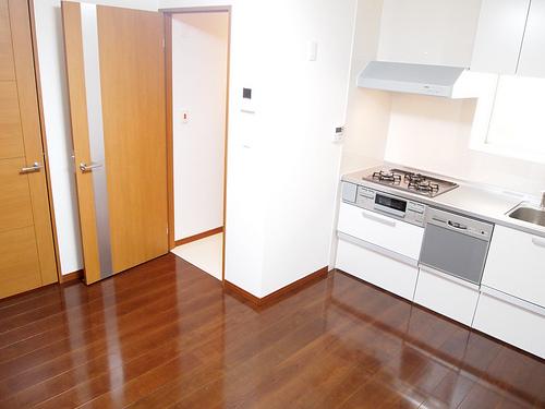 DK部分。空いている扉が玄関からの入口部分です。ライン状のガラスが個人的には好みです。