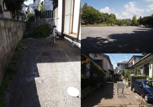 左:駐車場 右上:目の前は広い公園 右下:小道の右奥が今回の物件