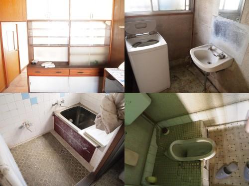 左上:食器棚 右上:洗面所 左下:浴室 右下:トイレ