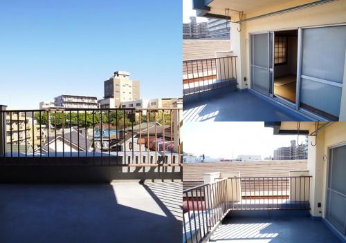 左:バルコニーからの景色 右上:幅は約4.5m 右下:奥行きは約2.7m