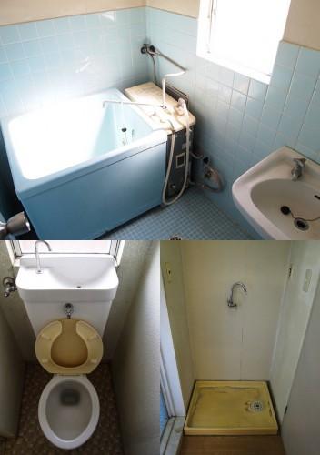 上:浴室 左下:トイレ 右下:洗濯機置場