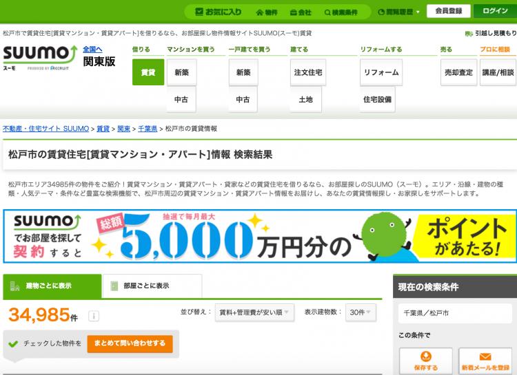 松戸市の物件掲載数は34,985。「建物ごとに表示」と「部屋ごとに表示」とに分けて物件検索することができます。(画像引用元)