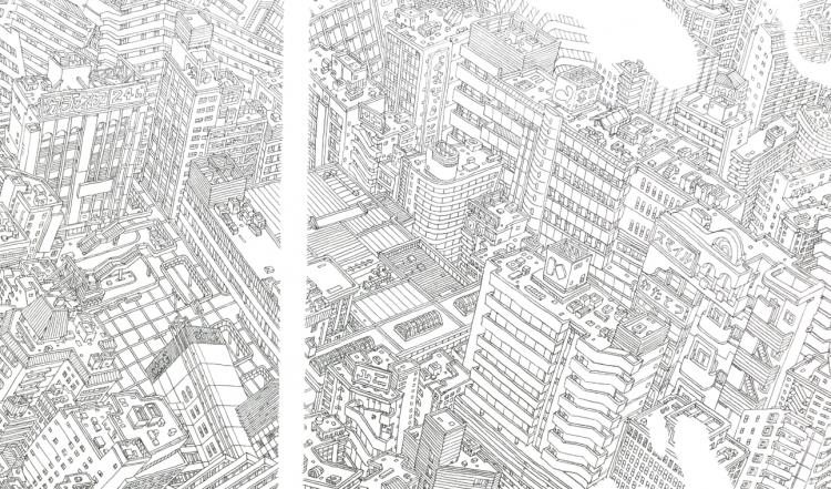 こちらの線画で唯一、白い線にまたがっているのが松戸駅舎です。常磐線で隔てられた西側と東側とをつなぐ上で重要な場所です。