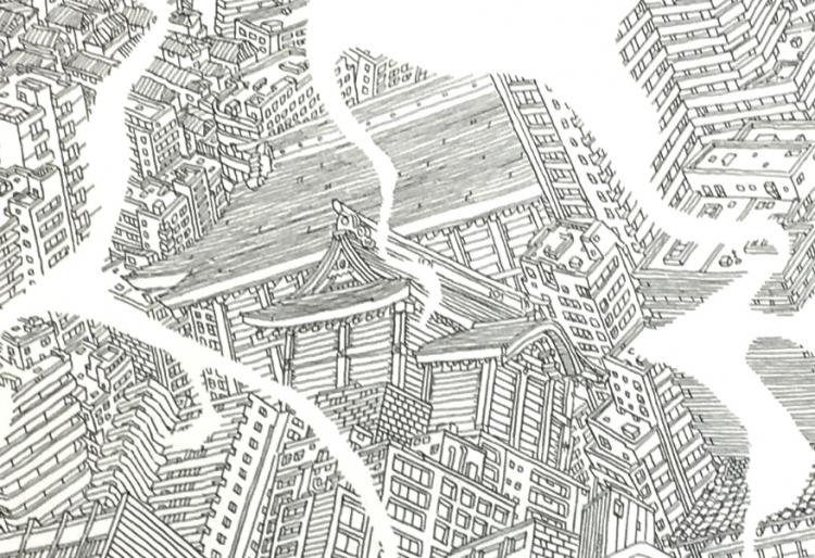 立派な社が描かれています。松戸神社は松戸市の総鎮守とされています。