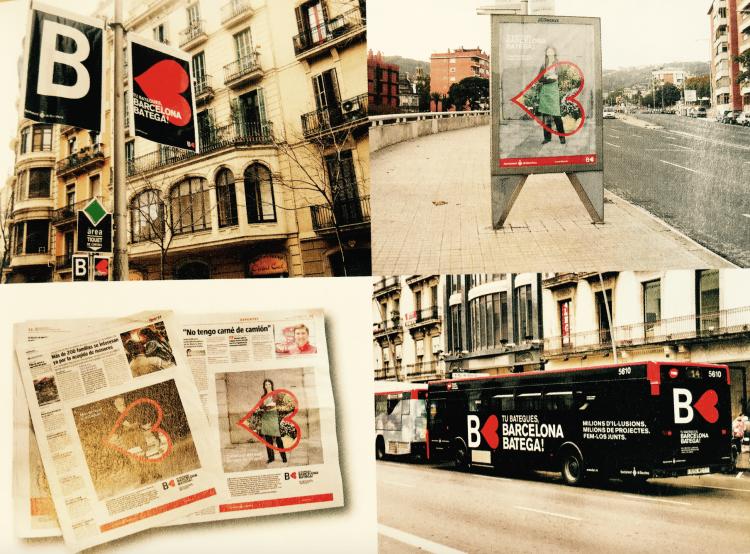 「BARCELONA BATEGA!」キャンペーンはバナー(旗)やポスター、テレビ、新聞、雑誌、バスラッピングなど様々なメディアで展開しました。