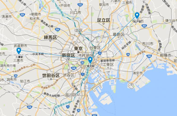 三鷹駅も松戸駅も、東京駅からの直線距離はほぼ同じです。都心への利便性と住宅価格の安さを最優先するならば松戸に軍配が上がる?!