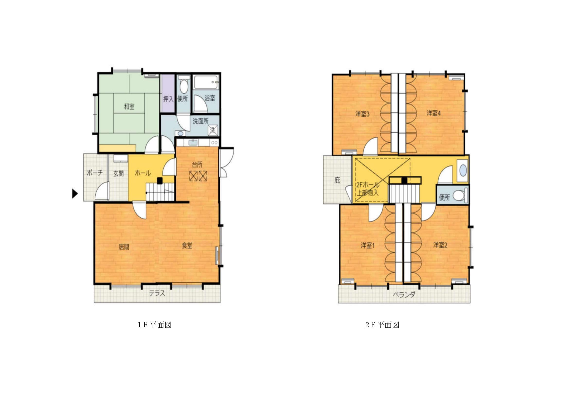 うごきの家_1F平面図2F平面図-1